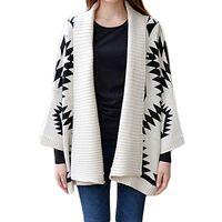 Wholesale Batwing Sweater Knitting Pattern - Wholesale- 2016 Autumn And Winter Female Sweaters Casual Loose Cardigan Geometric Rhombus Pattern Knitwear Batwing Sleeve Ladies Tops Coats