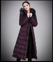 ingrosso cappuccio lungo giacche-Piumino lungo donna inverno Piumino anatra Parka Cappuccio in vera pelliccia di volpe Cappotto caldo Outwear Cappuccio grande formato S-5XL Thicking Giacca esterna