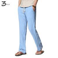 Wholesale Linen Fabric Trousers - Wholesale- XMY3DWX Fashion men Slim Fit Linen fabric casual pants male fall Autumn high Pure color leisure trousers