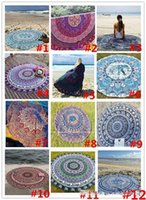 Wholesale Cotton Shawl Printed Wholesale - 12colors Summer Sunbathe Round Beach Towel Large Microfiber Printed Yoga Towel With Tassel Serviette De Plage Toalla Circle Playa shawl