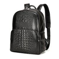 Wholesale Vintage Man Rucksack - Men Leather Backpack Men Large Capacity Rucksack Shoulder School Bag 3D Crocodile Male Back Pack Mochila Escolar