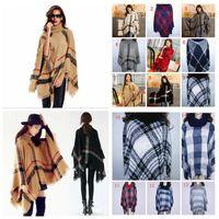 Wholesale Girl Ponchos Wholesale - Autumn Winter woman big girls classic plaid cloak High collar shawl Poncho fashion Loose plaid Bat shawl YYA234