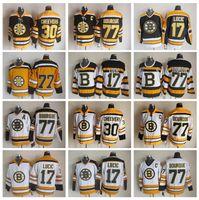 boston jersey lucic al por mayor-Hombres 77 Ray Bourque Jerseys Hockey sobre hielo 30 Gerry Cheevers 17 Milan Lucic Boston Bruins Vintage Jersey CCM 75a Negro Blanco Amarillo