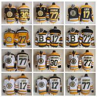 boston jersey lucic großhandel-Männer 77 Ray Bourque Trikots Eishockey 30 Gerry Cheevers 17 Mailand Lucic Boston Bruins Vintage Trikot CCM 75. Schwarz Weiß Gelb