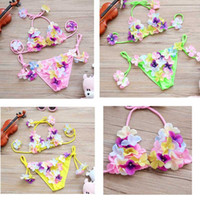 Wholesale Cute Toddler Girls Swimwear - Girls Swimwear Cute Flower Bikini Swimsuit Princess Baby Kid Two Pieces Toddler Clothing For Beach Summer