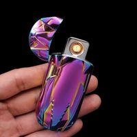 doppelwärme drähte großhandel-USB Elektronische Lade Lade Feuerzeug Fingerabdruck Induktion Coole Sport Auto Double-Side Heizdraht Flammenlose Feuerzeuge Winddicht Neu