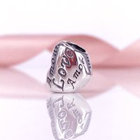Wholesale Sterling Silver Language of Love Charm Beads Fit Snake Chain Bracelet And Necklace DIY Fashion Jewelry