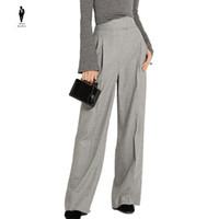 Wholesale Work Uniform Pants - UR Elegant Gray Winter Formal Work Office Uniform Designs Women Female Wide Leg Pants Trousers Women Lace up Pants Professional Pants