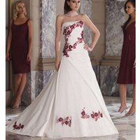 vestidos de boda modernos del bordado de la alta calidad de la manera del satn princesa colorful una lnea vestidos de boda strapless por encargo