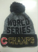 Wholesale Drop Shipping New Arrived World Series Champs Cubs Beanies Winter High Quality Beanie For Men Women Skull Caps Skullies Pom Knit Hats