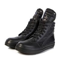 Wholesale Black Wide Calf Boots - NEW punk style owen Genuine Leather high top lacing classical high top zipper geobasket Hip-hop men Boots