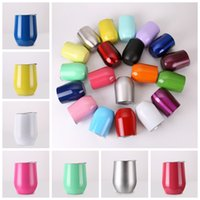Wholesale Cheap Glass Wine Glasses Wholesale - Hot Cheap 50pcs lot Cups Powder Coated 304 Stainless Steel Beer Wine Glass 9oz Wine Cup Drinkware mugs Gift Cups Mix Colors