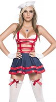 Wholesale Lingerie Sailor Costume - Exotic Women Halloween Sailor Cosplay Costume Fantasia Sexy Navy Uniform Performance Hollow Out Leather Catsuit Lingerie Dress