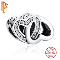 BELAWANG 925 Sterling Silver Cubic Zircon Charms Double Coeur Forme Beads Fit Pandora Charm BraceletsBangles Jewelry Making