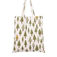 Wholesale Beige Tree - Women's Cotton Christmas Tree Print Canvas Tote Shopping Bag Beige
