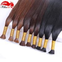 Wholesale Double Drawn Hair Bulk - Oirginal brazilian bulk hair for braiding 100% crochet straight bulk hair weaves 3pieces lot double drawn bulk hair top quality