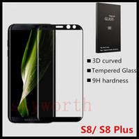 galaxia nota borde lcd al por mayor-Protector de pantalla curvado 3D de vidrio templado para Samsung Galaxy Note 8 S8 Plus S7 Edge S7 S6 LCD totalmente cubierto Firma Wood-Box