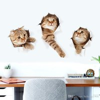 Wholesale modern cat art - 3D Wall Decals Cartoon Animal Vivid Cat Simulation Decorated Sticker For Kid Room Mural Art Decal Home Decor Stylish 2 5gw F R