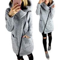 женские куртки бесплатная доставка оптовых-Бесплатная доставка женщин осень зима одежда теплая флисовая куртка косая молния воротник пальто леди одежда женская куртка DM # 6