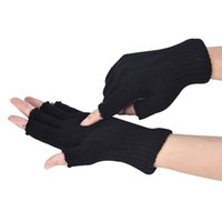 Men Black Knitted Stretch Elastic Warm Half Finger Fingerless Luvas