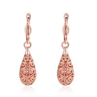 Nueva moda Rose Gold Color Long Dangle pendientes para mujer Rhinestone Hollow Flower Enamel Drop Earrings joyería