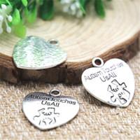 Wholesale Wholesale Autism Charms - 8pcs- autism touches us all Charms, Antique Tibetan silver heart Charm pendants 25x23mm