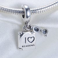 Wholesale Pandora Book Bead - Real 925 Sterling Silver Not Plated Reading Book Pendant Charm European Charms Beads Fit Pandora Chain Bracelet DIY Jewelry