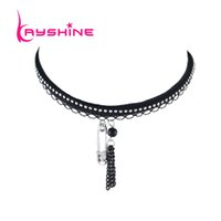 Kayshine Black Lace Suede Fabric Tattoos Collier Choker Multi Layer Chain Maxi Collier Silver Color Pin Pendentif Collier