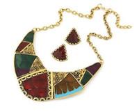 Wholesale choker necklace metal enamel for sale - Womens Necklaces Earring Set Geometric Metal Gold Plated Enamel Contrast Color Statement Choker Necklace Earring Jewelry Set