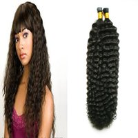Wholesale Deep Wave Tip - #1 Jet Black I Tip Fusion Human Hair Extension Pre bonded deep wave Virgin Hair100s 100g keratin tip hair extension
