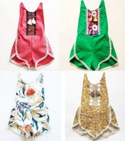 Wholesale Cute Christmas Baby Girl Clothes - kids clothing floral bodysuit romper 2017 New Summer Printed Tassel summer baby onesie Cute Lace Children Jumpsuit 7667