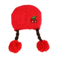 Wholesale Knitted Hats Pigtails - Girls Child Beanies baby Cherry Embroidery Long Pigtail Wigs Bobbles knit Hats Kid Autumn Winter Warm Cap Skullcap MZ5116