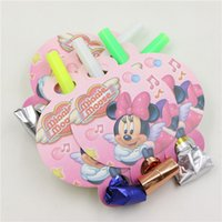 gros jouets de souris minnie achat en gros de-Grossiste-Evénements Toy Noise Maker Baby Shower Happy Birthday Party Décoration Enfants Favors Fournitures Minnie Mouse Cartoon Blow Out 6pcs \ lot