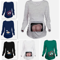 Wholesale Funny Baby Tees - 2017 new hot Women's Caucasian Baby Footprints Maternity T-Shirt Cute Funny Pregnancy Pregnant Mom Tee full sleeves
