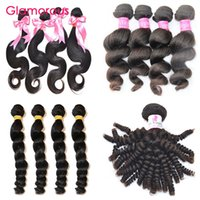 Wholesale Body Spirals - Glamorous Human Hair Weft Peruvian Malaysian Indian Virgin Human Hair Body Wave Deep Loose Wave Spiral Curly Hair Extenstions 4 Bundles