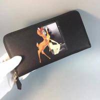 Wholesale Leather Deer Wallet - 2017 Male Genuine Leather luxury deer dog head wallet Casual Short business designer Card holder pocket Fashion Purse wallets for men