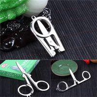 Wholesale Mini Folding Scissors - Mini Easy To Folding Scissors Pocket Travel Small Cut Cutter Crafts Sharp Blade Emergency EDC Keychain Tool C128Q