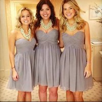 Wholesale Cheap Pretty Bridesmaid Dresses - A Line Discount Short Grey Bridesmaid Dresses Sweetheart Chiffon Sleeveless Pretty Simple Style Bridesmaids Dresses Cheap