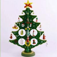 künstlicher minibaum großhandel-Mini künstliche hölzerne Weihnachtsbaum Weihnachtsschmuck dekoriert Urlaub - Ornaments Desktop Weihnachtsbaum für Zuhause