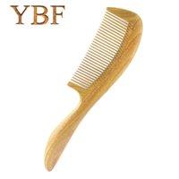 Wholesale Wooden Hairbrushes - YBF Pure handmade Wedding Columns Gift Green Sandalwood Wooden Betangling Hair Combs Brush Hairbrush Craft Tarak