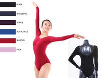 Wholesale Professional Dance Leotards - New Quality Adult Ladies Womens Lycra cotton Long Sleeve Black Blue Purple Pink Professional Dance Ballet Leotard Camisole Dancewear