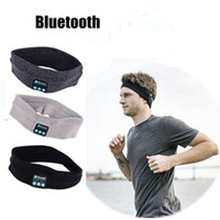handy-kopfhörer-kappe großhandel-Gestrickte Unisex Bluetooth Stirnband Wireless Music Headset Cap Outdoor Sport Yoga Soft Kopfhörer Handfree mit Mikrofon für iPhone 7 Handy