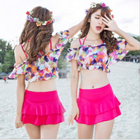 Wholesale New Bathing Suit Styles - New Style Floral Push Up Bikinis set Skirt Cover Ups Three Pieces Swimsuit Bathing Suit For Women Girl Swimwear M-XL