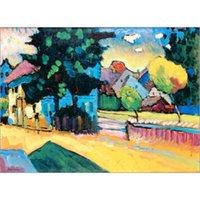 ingrosso vernice d'arte riproduttiva-Alta qualità Wassily Kandinsky arts Murnau - Studie zur Landschaft mit grunem Haus. Riproduzione dipinta a olio Riproduzione di quadri su tela di grandi dimensioni