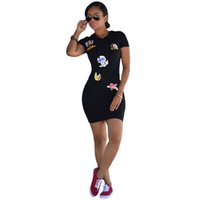 Wholesale Character Bandages - Women Black Bodycon Dress New 2017 Summer Color Character Short Sleeves Hooded Fashion Casual Sexy Bandage Party Dresses 17411