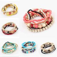 Wholesale Korean Women Beaded Bracelets - Wholesale-Hot Spring Korean Designer Fashion Bohemia Beads Bracelet Beaded Multilayer Strand Stretch Bracelets Bangles For Women Girl
