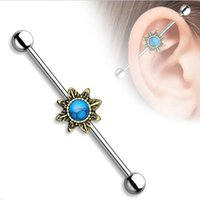 Wholesale Industrial Body Piercing - surgical Stainless Steel flower Moon Star heart industrial barbell piercing Ear Body Jewelry Long Bar tragus