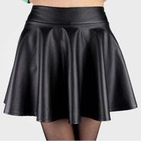 Wholesale Leather Flared Mini Skirt - New Style NewLady Girls Faux Leather Skirt High Waist Skater Flared Pleated Short Mini Skirt Hot Sale