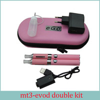 E Cigarette MT3 EVOD Double Starter Kit 2.4ML Vaporisateur 650mah 900mah 1100mah EVOD Bobine détachable de batterie Ecigs DHL Free