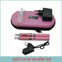 Wholesale Mt3 Double Starter - E Cigarette MT3 EVOD Double Starter Kit 2.4ML Vaporizer 650mah 900mah 1100mah EVOD Battery Detachable Coil Ecigs DHL Free